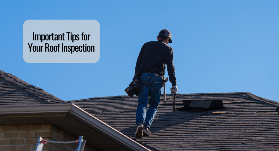 image of a roofing contractor walking on a roof performing an inspection
